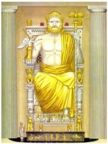 statua di zeus in oro