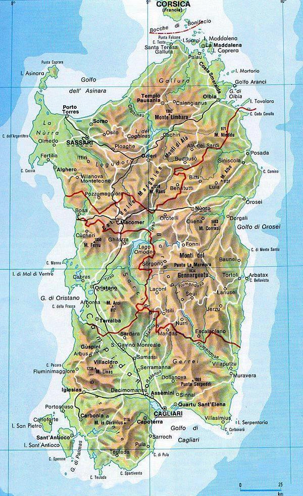 mappa geografica sardegna