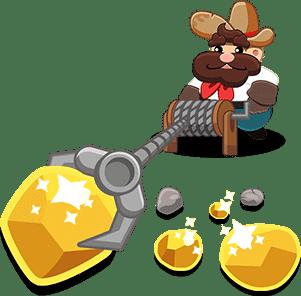 minatore raccoglie le pepite d'oro