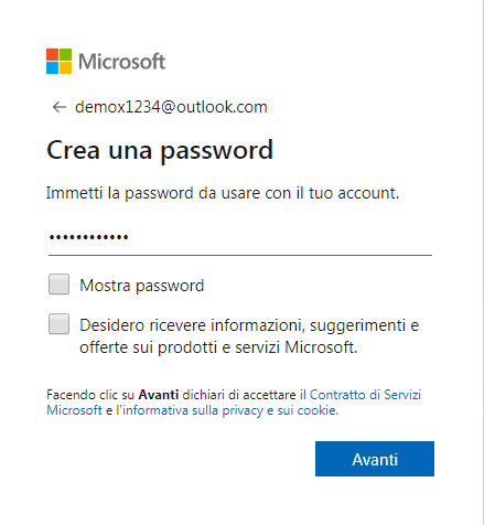 crea una password sicura per il tuo account